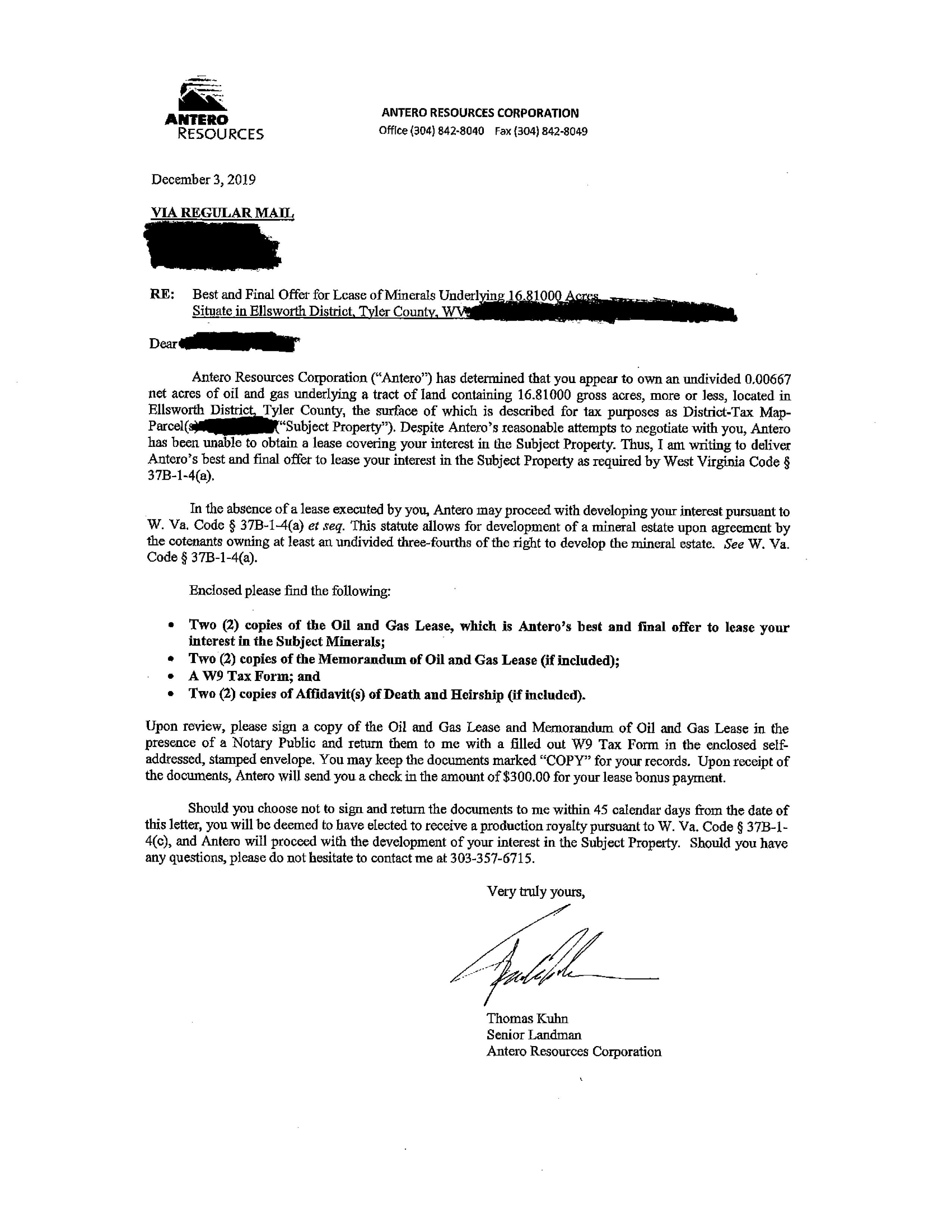 Co-Tenancy Letter